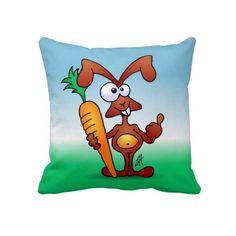 Rabbit holding a healthy carrot on a throw pillow #Zazzle #Cardvibes #Tekenaartje