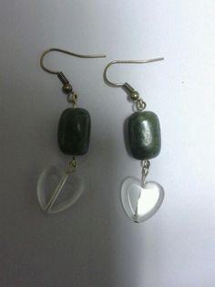 Green heart dangle earrings