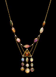 An Arts and Crafts Yellow Gold, Platinum, Opal and Diamond Necklace, Tiffany & Co.