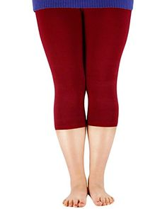 0d72f1c7346 Womens Bamboo Fibre Plus Size Modal Basic Capri Elastic Waist Leggings  Breathable Pants Wine Red US