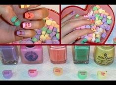 Valentine's Day Candy Heart Nails - Polish and Pearls Diy Nail Designs, Simple Nail Designs, Acrylic Nail Designs, Acrylic Nails, Matte Nails, Pearl Nail Art, Pearl Nails, Love Nails, How To Do Nails