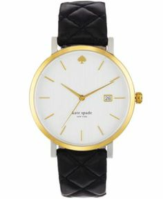 Big City style in a pretty package from kate spade new york's Metro watch collection. | Black quilted leather strap | Round stainless steel case, 38mm, gold-tone bezel | White dial with gold-tone stic