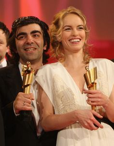 Director Fatih Akin and actress Nina Hoss hold the Lola Awards they won at the German Film Award 2008 (Deutscher Filmpreis 2008) at the Palais am Funkturm on April 25, 2008 in Berlin, Germany.