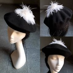 Wool Beret Beanie Hat Black with White Pom Pom Ostrich Feathers Dressy Casual Hat Unique Gift for Her Black & White Event Evening Hat JCN by JCNfascinators on Etsy