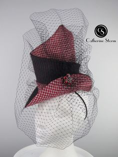 'Well Suited' by Catherine Storm Millinery. A two thirds size top hat with an open crown. Selected for 2020 London Hat Week Exhibition. Fascinator, Headpiece, Spring Racing, Crochet Hats, Crown, London, Unique, Top, Color