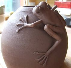 BROOKFIELD POTTERY: Frog On A Pot