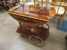 Gorgeous inlaid wood tea cart!