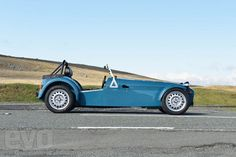 Caterham Seven 160 - the new Caterham is definitely nicely retro (and this blue is very similar to the Rover smoke blue) but still unconvinced by some of the detailing - be good not to have the modern badging, a more retro steering wheel...