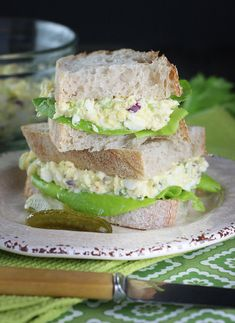 Greek Yogurt Deviled Egg Salad Sandwiches - Take Meatless Monday to work or school with these pimped-up egg sandwiches