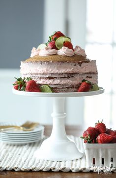 Strawberry Limeade Naked Cake - spring and summer dessert cake recipe with strawberries and lime. | Inspired by Charm
