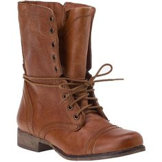 STEVE MADDEN SHOES Troopa Combat Boot Cognac Leather ($99) ❤ liked on Polyvore