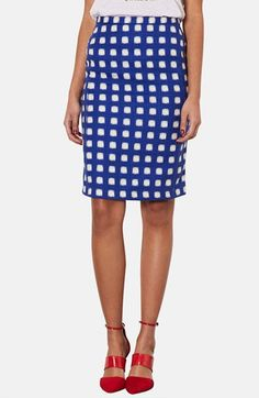Topshop 'Blurry Check' Print Pencil Skirt available at #Nordstrom