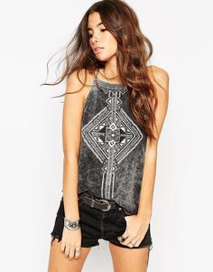 Image 1 of ASOS Festival Cami Top in Acid Wash With Henna Placement Print