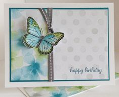 Beautiful Birthday card featuring the Watercolor Wonder DSP #stampinup