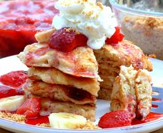 """Strawberry-Banana """"Cheesecake"""" Pancakes!  It has YOGURT in the batter!  Why didn't I think of that?!?"""