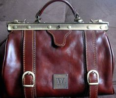 Tuscany Leather Firenze  Doctors Bag/Satchel Polished Calf-Skin  Brown  Leather  #TuscanyLeatherFirenze #Satchel