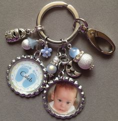 BABY KEEPSAKE BLUE bottle cap key chain new mom by KeyChainBling, $26.00