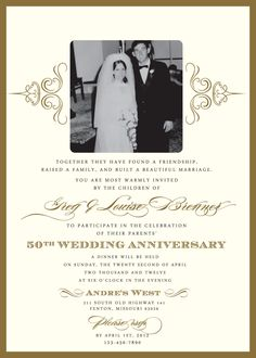 Th Wedding Anniverary Invitations Roses Gold Th Wedding - Anniversary party invitation template