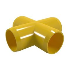 Formufit F001CRX-YE-4 Cross PVC Fitting, Furniture Grade, 1 inch Size, Yellow, 4-Pack