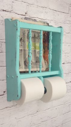 Shabby Chic Toilet Paper Holder Magazine Rack.