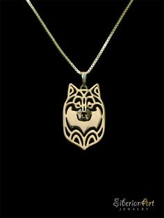 Finnish Lapphund  Gold pendant and necklace - SiberianArtJewelry