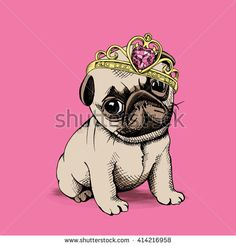Puppy Chihuahua in a Princess crown on pink background. Vector illustration.