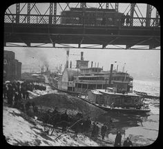 "cincylibrary: ""Undated photograph: Steamboat in the frozen Ohio River at Cincinnati, Ohio. """