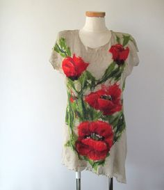 Linen tunic knit Poppy flower felted aplication by galafilc, $97.00