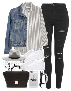 """Outfit with ripped jeans and platform sneakers"" by ferned on Polyvore featuring Topshop, Equipment, Proenza Schouler, No Name, Forever 21, rag & bone, Casetify and Fallon"