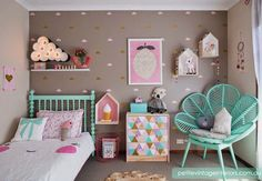 So many things to love in this kids bedroom by Petite Vintage Interiors. Pastels, floral pillow, felt ball garlands, house shaped shelves, geometric triangle pastels on (what looks like) IKEA drawers. Deco Kids, Unicorn Bedroom, Kawaii Room, Vintage Interiors, Teen Girl Bedrooms, Little Girl Rooms, Kid Spaces, Kids Decor, Decor Ideas