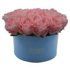 Pink Roses in blue gift box