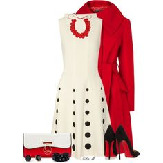 Red Coat & Polka Dots, created by mz-happy on Polyvore