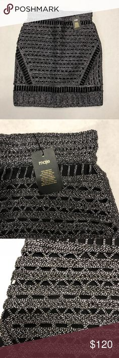 Maje metallic open knit skirt size 36 100% Authentic  Brand New Maje metallic silver/black short skirt open knit skirt | Size: 36 | Thank you for looking at my closet and please contact me with any inquiries. Have a awesome day! Maje Skirts Mini