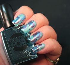 Sally Hansen ColorFoil Nail Makeup polishes - water marble nail art