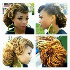 Pin up girl meets yarn locs ! Pelo Natural, Natural Hair Care, Natural Hair Styles, Natural Dreads, Au Natural, Dreadlock Styles, Dreads Styles, Hair Locks, My Hair