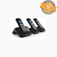 BT TRIO Cordless Phone with Answering Machine (Hands Free Functionality) Easy To Use, It's Easy, Phone Books, Camera Phone, Digital, Mobile Phones, Numbers, Hands, Electronics