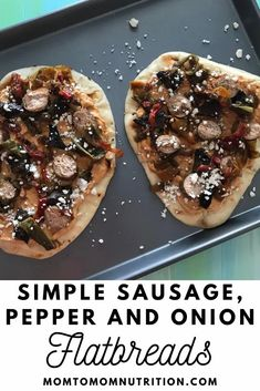 Sausage Pepper and Onion Flatbreads are as simple as they sound. Let your slow cooker do the work for the sausage, and the mixture of hummus and feta cheese serve as the base for these flatbreads. Healthy Beef Recipes, Onion Recipes, Healthy Lunches, Sausage Recipes, Pizza Recipes, Clean Eating Recipes, Slow Cooker Recipes, Crockpot Recipes, Weeknight Dinners