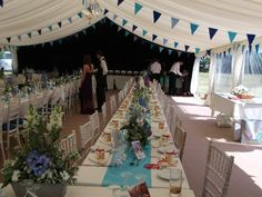 shabby chic marquee styling with long tables and bunting - Norah sleep