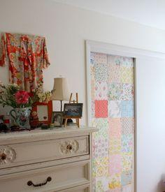 vintage wallpaper patchwork door