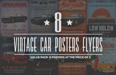 Retro Car Flyer/Poster Bundle by Grafixity on @creativemarket