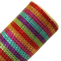 """Wide Foil Stripe Deco Poly Mesh Color: Multi Bright Size: 10"""" in width; 10 yards in length Material: Synthetic Poly"""