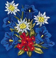 Swiss flowers Hand Embroidery Flowers, Embroidery Art, Cross Stitch Embroidery, Embroidery Patterns, Beading Patterns, Alpine Flowers, Edelweiss, German Folk, Art Pictures
