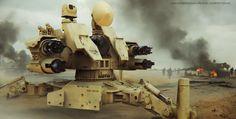 desert, war, robot, drone, weapon, remote weapon system, rws, mech, tech, sketchup, keyshot, render, 3D, concept art, film, movie, CIWS