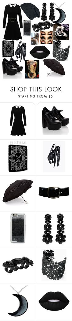 """""""Wednesday Addams"""" by boredom-is-my-motivation ❤ liked on Polyvore featuring Gizelle Renee, Chanel, LMNT, Simone Rocha, Dsquared2, Stella & Dot, Curiology and Lime Crime"""