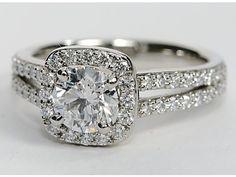 For lovers of : Split Shank Cushion Halo Engagement Ring from @Shannon Bellanca Bellanca Bellanca Bellanca Kendall O'Saurus Nile.