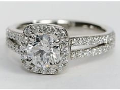 For lovers of : Split Shank Cushion Halo Engagement Ring from @Shannon Bellanca Bellanca Bellanca Bellanca Kendall O'Saurus Nile.