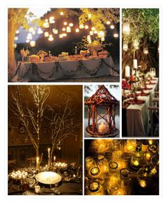 I do want some of the flower arrangements or tables to have small branches or branch-looking flowers incorporated, such as the upper left and bottom left picture in this collage.