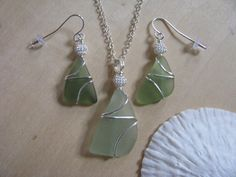 Sage+Sea+Glass+Jewelry+Pendant+Wire+Wrapped+by+BostonSeaglass,+$32.00
