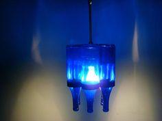 Cobalt Blue Bottle Chandelier. $140.00, via Etsy.