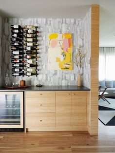 sunset idea house tour - wine bar with black and white wallpaper Eclectic Wallpaper, Built In Furniture, Black And White Wallpaper, Interior Decorating, Interior Design, Mid Century House, Mid Century Modern Design, Bars For Home, Studio